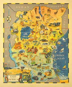 East Africa Kenya Uganda Tanganyika, 1961   original vintage