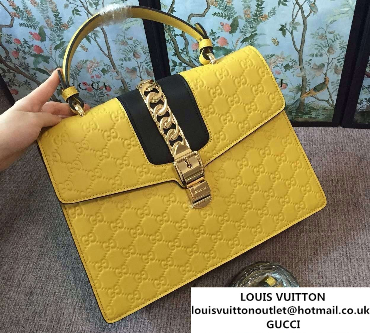 e1bf9cc8f92 Gucci Sylvie Leather Signature Top Handle Medium Bag 431665 Yellow 2016