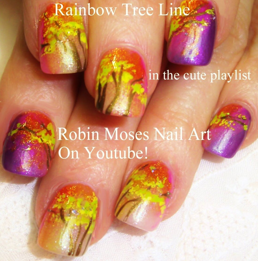 Easy Fall Nail Art - DIY Rainbow Tree Design Tutorial (ReUPLOAD ...