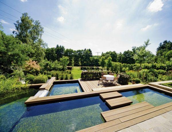 nachhaltige moderne Architektur Schwimmteich Holz Terrasse - moderne gartengestaltung mit pool