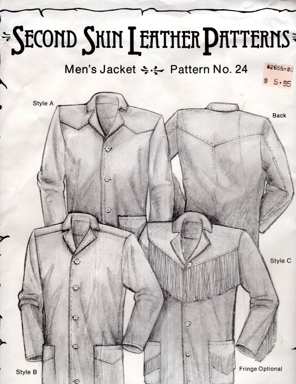 Men 39 S Western Fringe Leather Jacket Pattern Vintage Second Skin Leather Pattern 24 Uncut Ff Leather Pattern Jacket Pattern Fringe Leather Jacket [ 1500 x 1156 Pixel ]