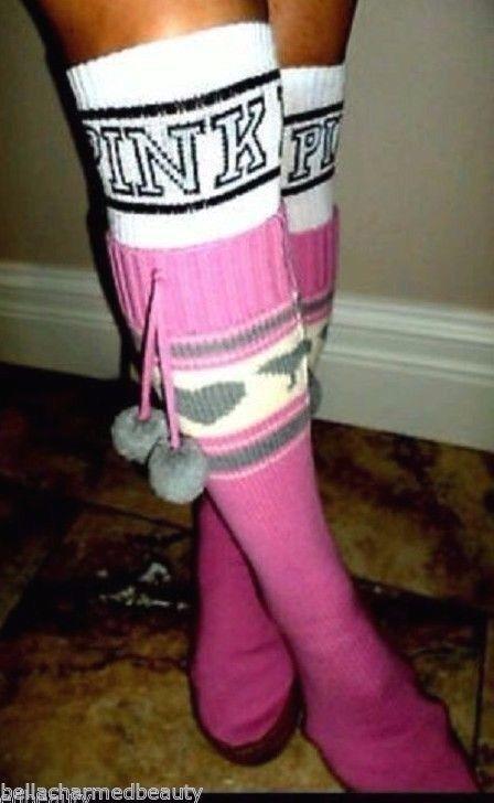 99a742a270 RARE Victoria s Secret PINK MUKLUK Sweater Slipper Boot Socks M 7-8 READ  BELOW -