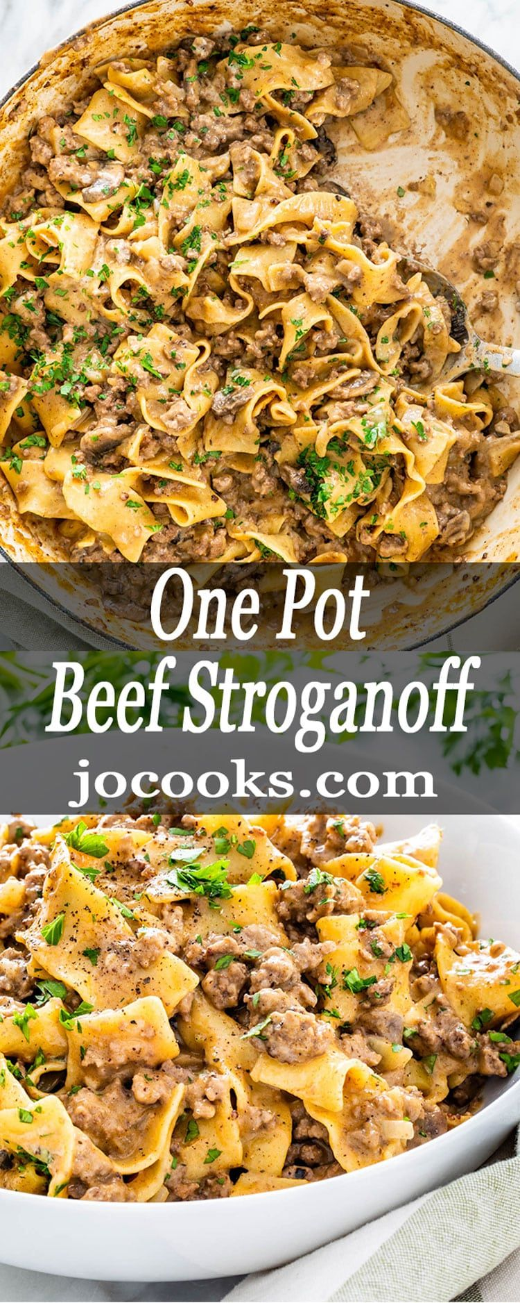 One Pot Beef Stroganoff is a simple weeknight meal. With mushrooms and beef in a creamy rich sauce with egg noodles, this dreamy dish is packed full of flavor and yumminess. #beefstroganoff #onepot #easyonepotmeals