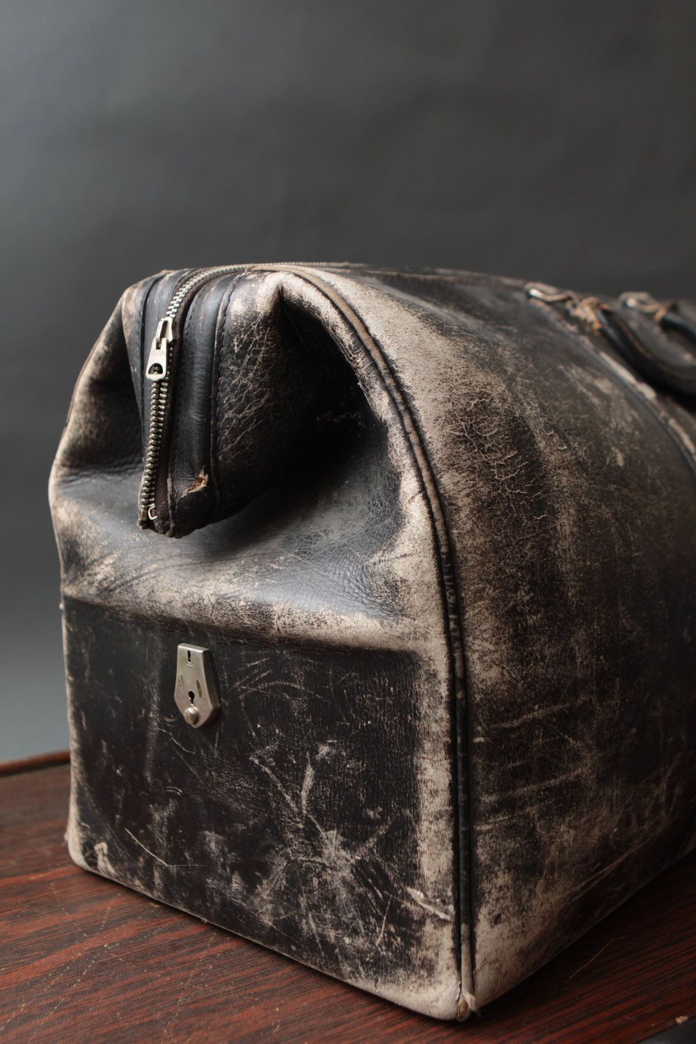 Vintage worn leather Elk Hide - Black Suitcase/Dr. Bag | 6 ...