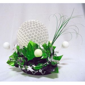 8 golf ball cut out used to make a golf themed table for Golf centerpiece ideas