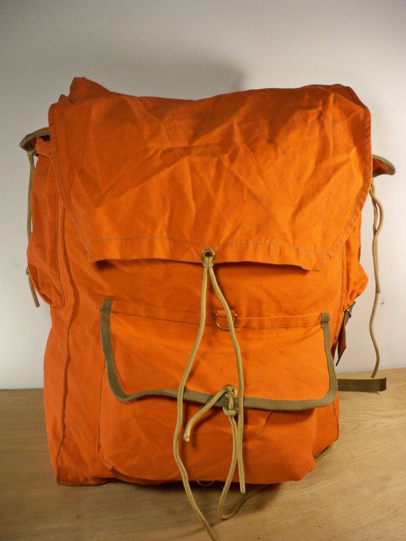 Vintage Camp Trails Made in USA Orange Canvas Rucksack by Joeymest