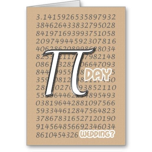 Happy Pi Day Wedding Congraulations 3 14 March 14t Card Zazzle Com Happy Pi Day Pi Day Wedding Pi Day