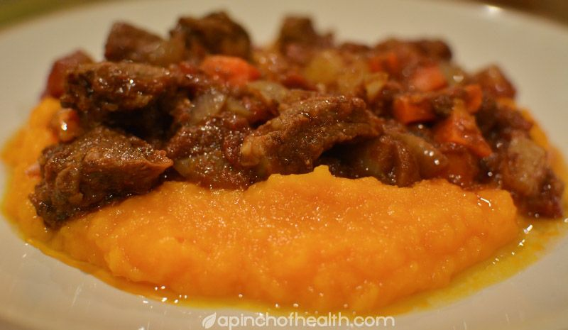 Low carb slow cooked beef with pumpkin mash