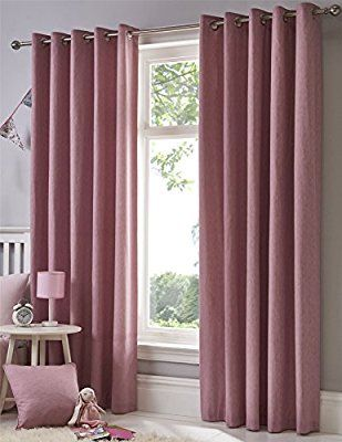 Sorbet Lined Eyelet Curtains 66 X 90 Dusky Pink Blush One Pair Ready Made Plain Ring Top Hallways