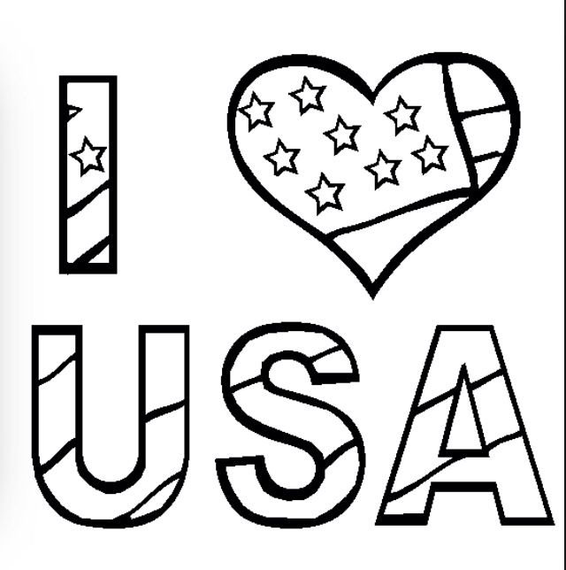 Free Fourth Of July Coloring Pages Color In This Picture I Love USA And Others With Our Library Online Save Them Send