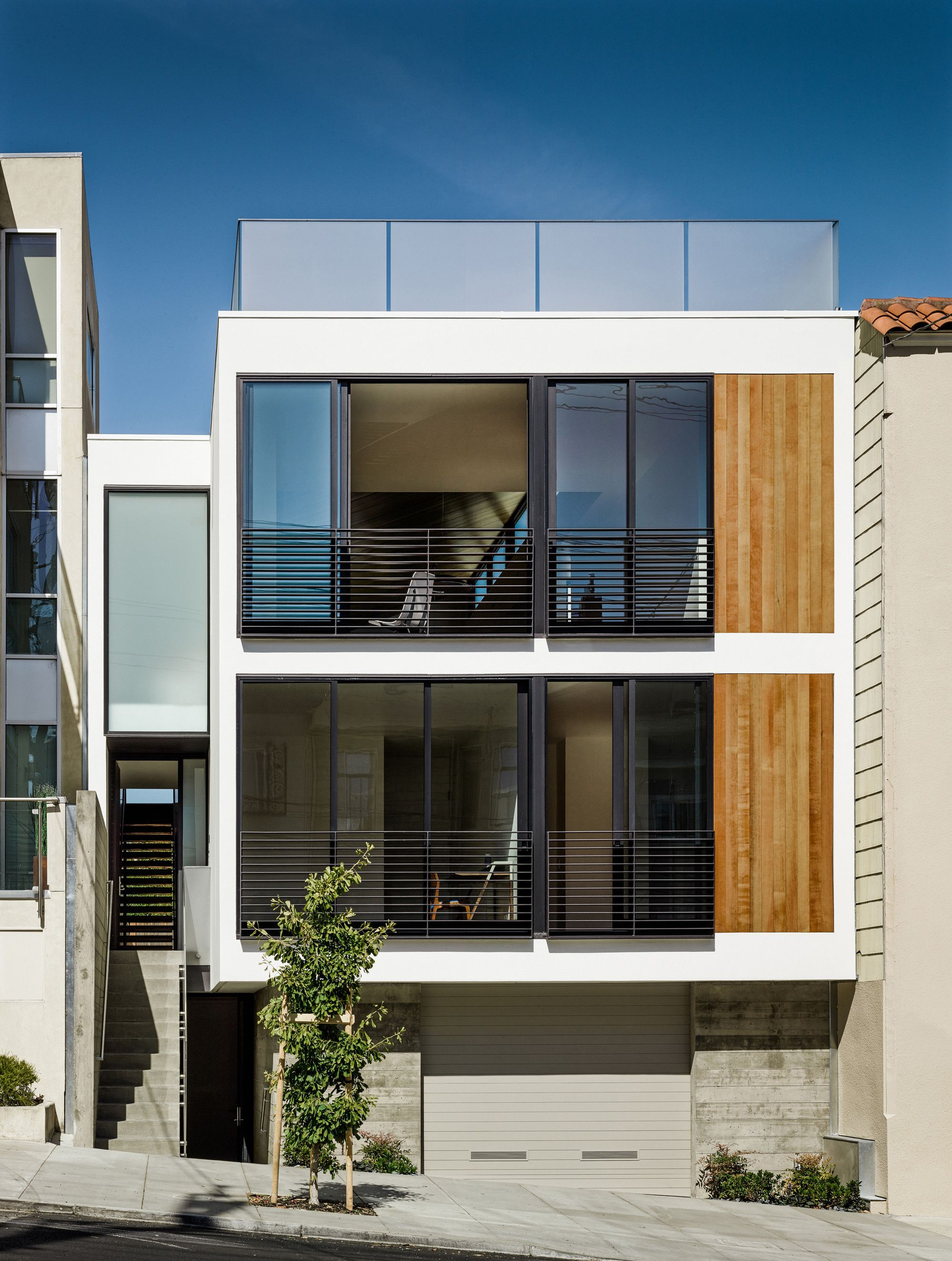 Built by Michael Hennessey Architecture in San Francisco, United States with date 2014. Images by Joe Fletcher. The program for this ground-up, single-family residence is organized in a rational manner in an attempt to create vis...