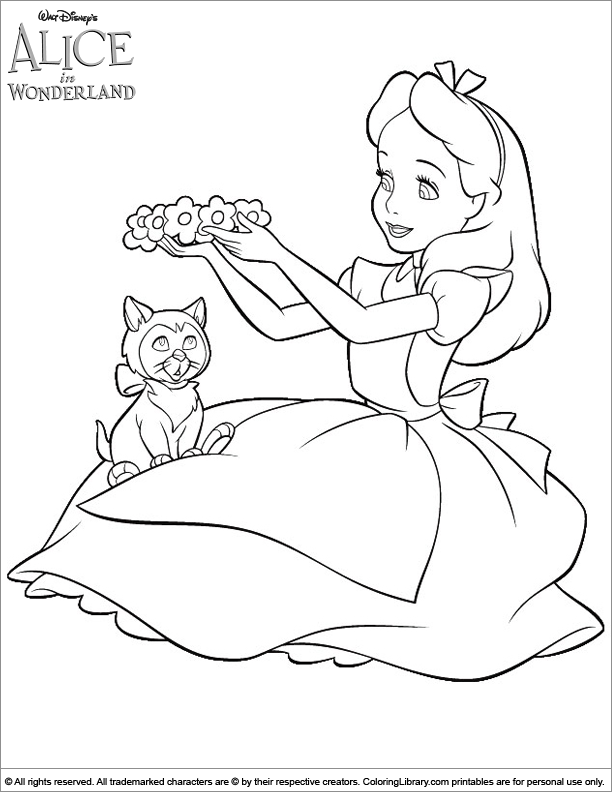 alice in wonderland coloring sheet cheshire cat and alice