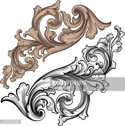 Designed by a hand engraver. Highly detailed ornamental scrollwork set. Change background color easily or use standard black version. Change color and scale easily with the enclosed EPS and AI files....