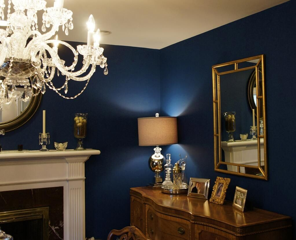 Absolutely Love This Navy Blue Wall With Gold Accents