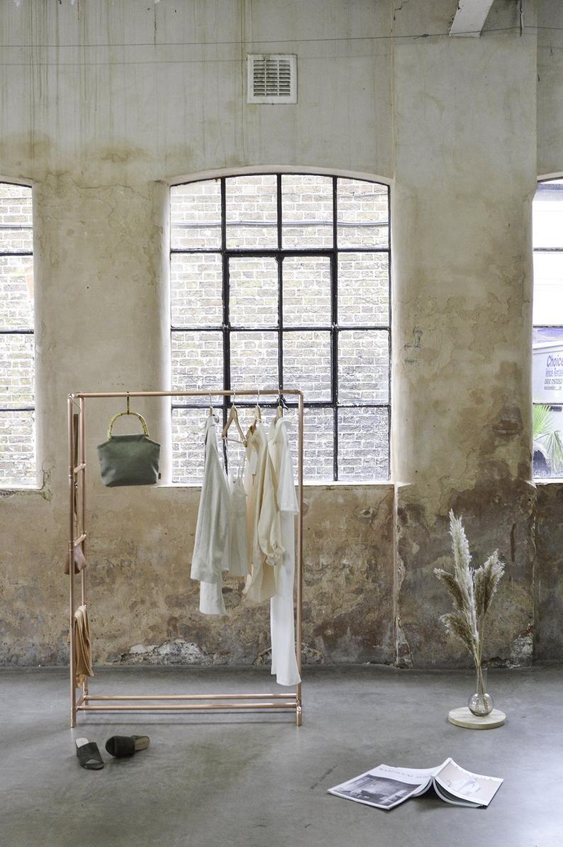 Kupfer Rohr Kleiderstange / Kleidungsstück Rack / Kleidung Aufbewahrung mit Leiter