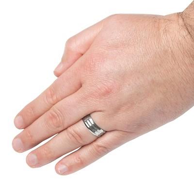 Men's Titanium Satin Finish and Polished Grooved Ring (8mm), Size: 12, Variation Parent