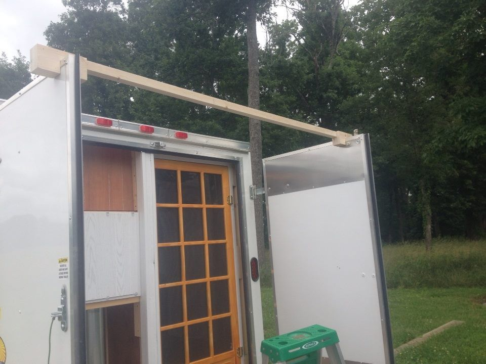 Put A Screen Door In The Back Of Cargo Trailer Plexiglass Covers The Inside To Keep The Ac And Heat Inside Without L Screen Door Cargo Trailers Outdoor Decor
