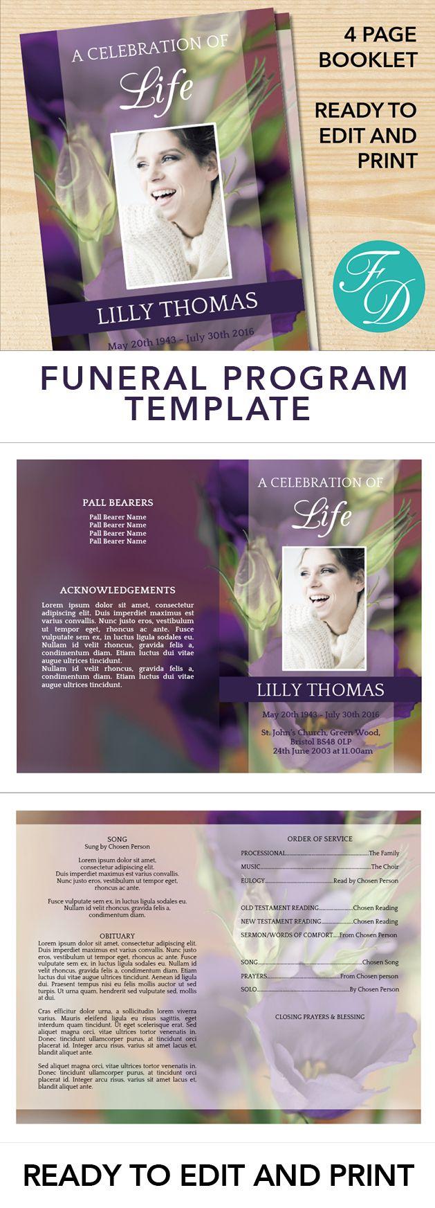 Purple Lizzies Printable Funeral Program Ready To Edit Print