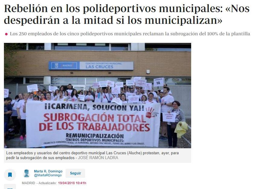 Rebelión En Los Polideportivos Municipales Nos Despedirán A La Mitad Si Los Municipalizan Rebelion Mitos Noticia