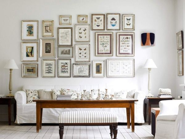 Fotowand Weisses Wohnzimmer Wandgestaltung Wohnideen