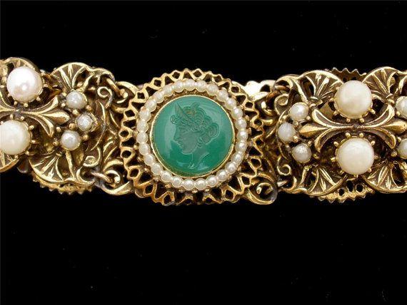 Vintage Florenza Intaglio Cameo Bracelet by TheJewelryLadysStore, $75.00