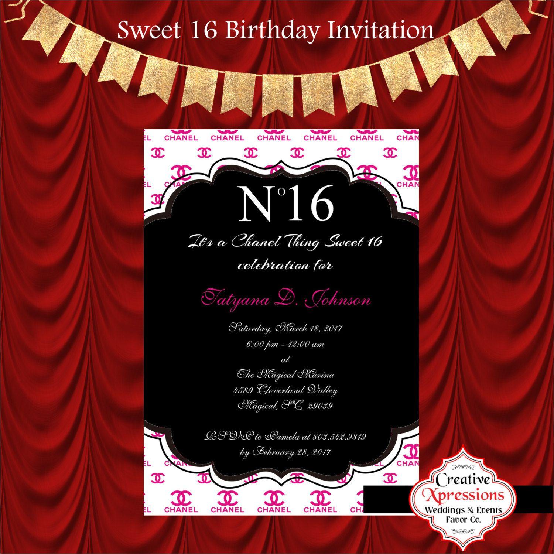 Sweet Birthday Invitation Chanel Invitations st Birthday