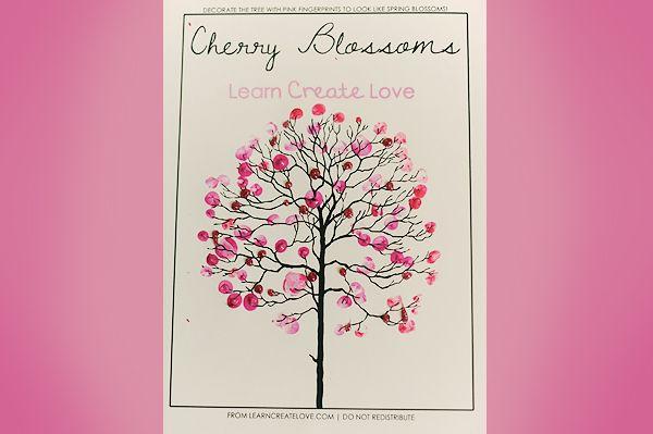 Fingerprint Cherry Blossom Tree Cherry Blossom Tree Thumbprint Crafts Cherry Blossom