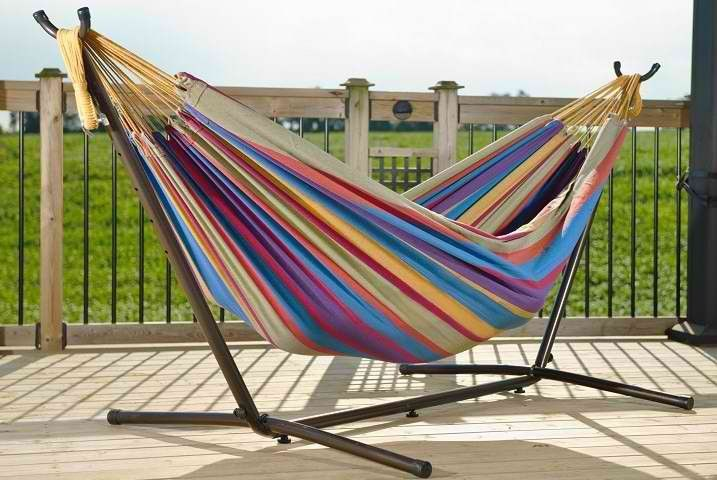 COMBO - DOUBLE COTTON HAMMOCK WITH STAND (9FT)