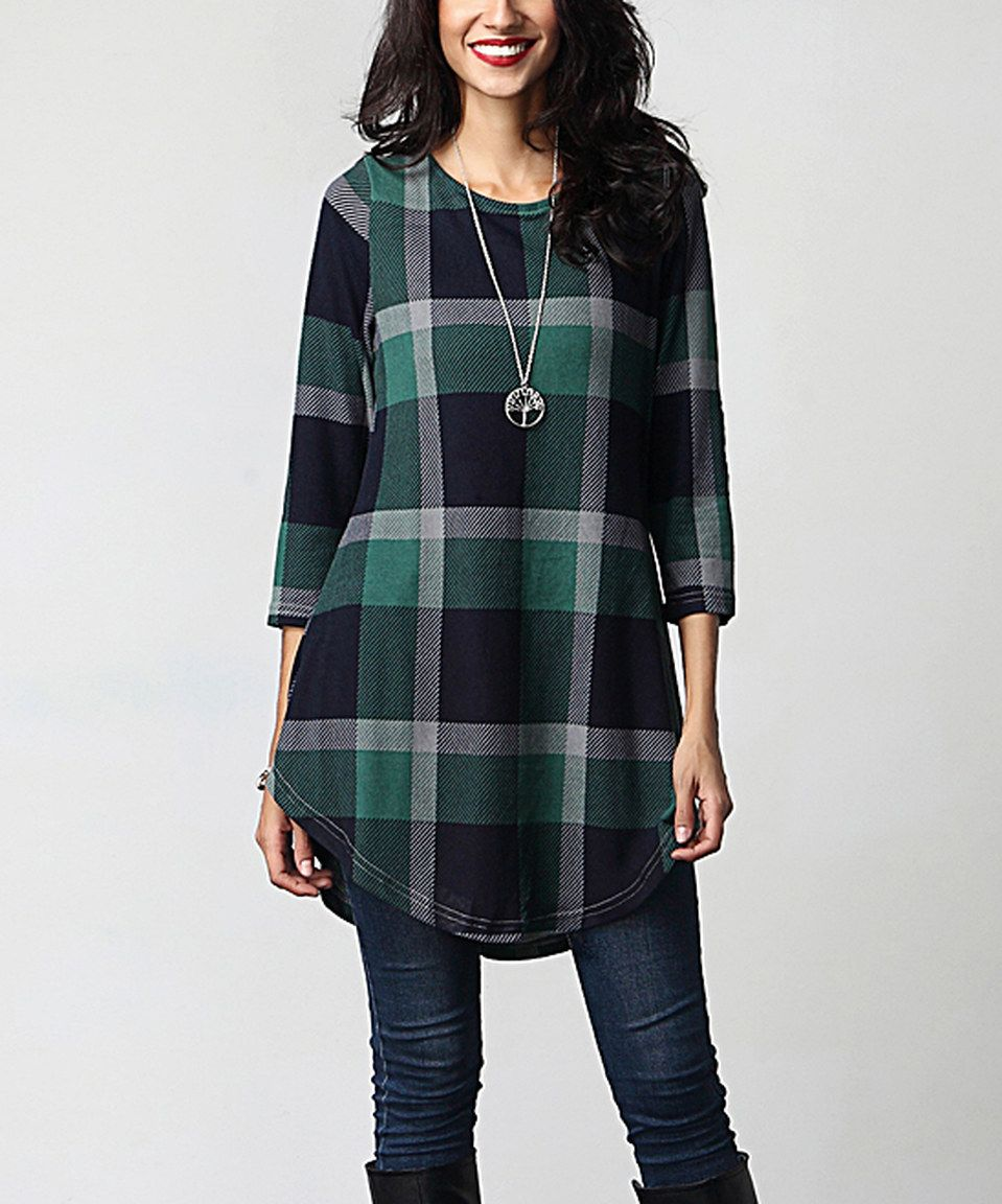 Flannel jacket with elbow patches  Look what I found on zulily Green Plaid u Brown Elbow Patch Tunic