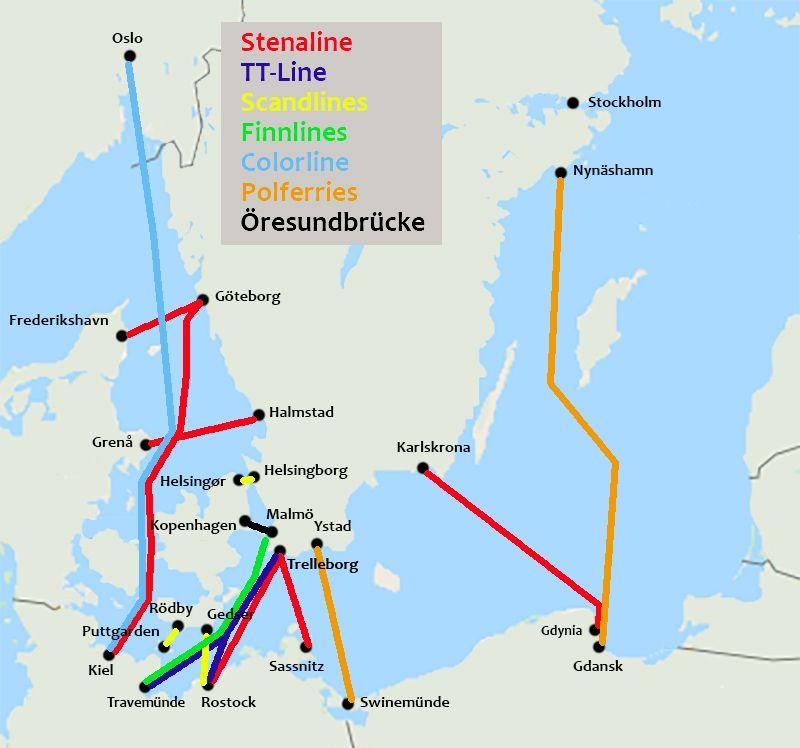 Karte mit Fährverbindungen nach Schweden in 2021 ...