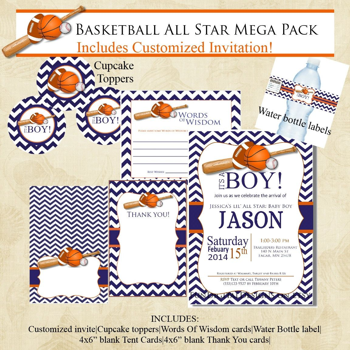 Basketball Chevron Sports Baby Shower Invitation Mega Pack, Navy ...