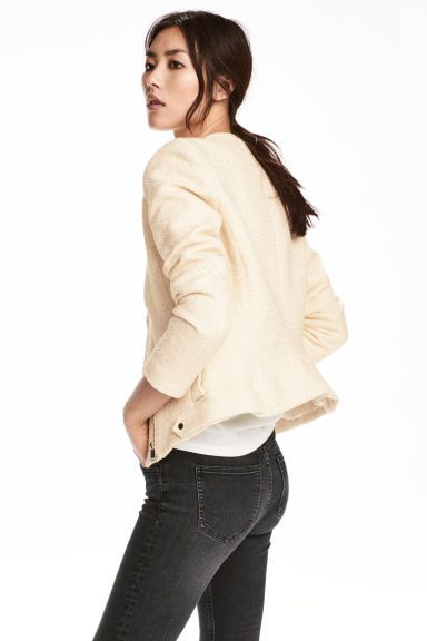 Cazadora motera con textura - Blanco natural - MUJER   H&M ES 1