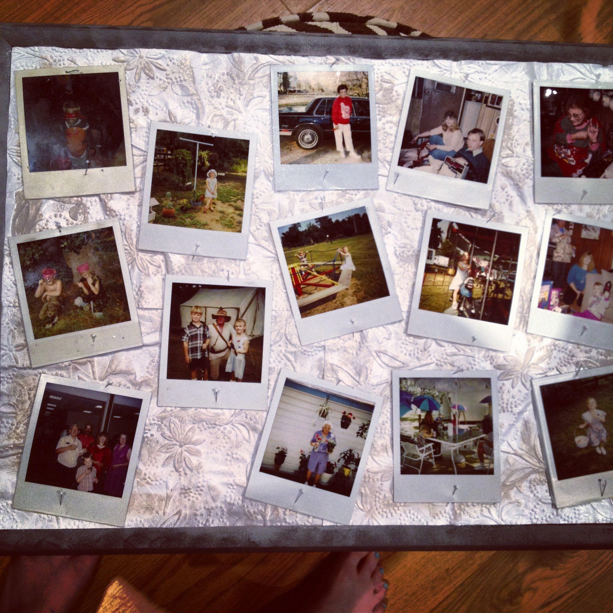 Scrapbook paper display - Diy Polaroid Display Modpodge Scrapbook Paper Corkboard Pushpins And Paint