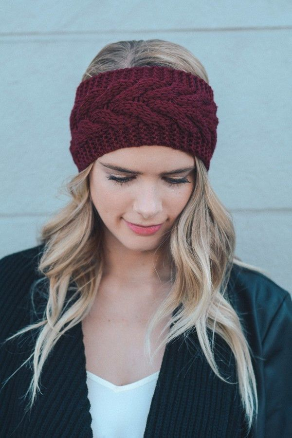 Gemma Cable Knit Headband - Maroon | Knitted headband, Cable ...