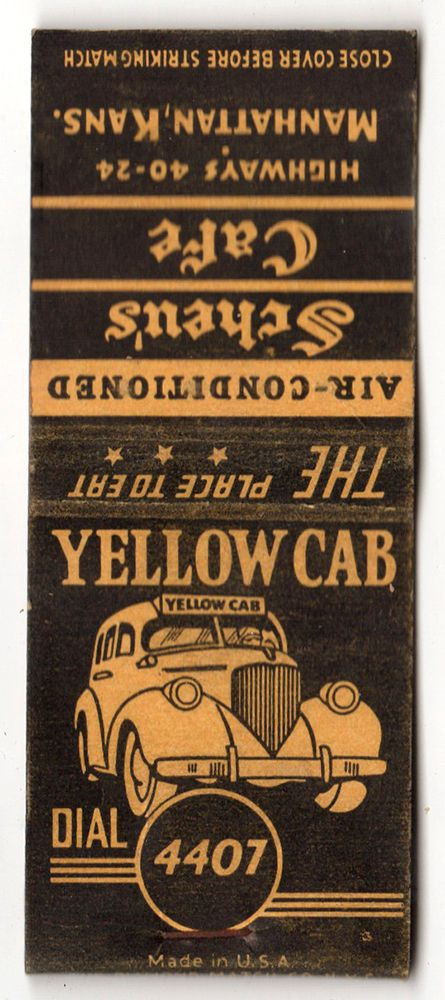 Yellow Cab  #frontstriker #matchbookcover To Order your Business' own branded #matches GoTo: www.GetMatches.com or Call 800.605.7331 Today!