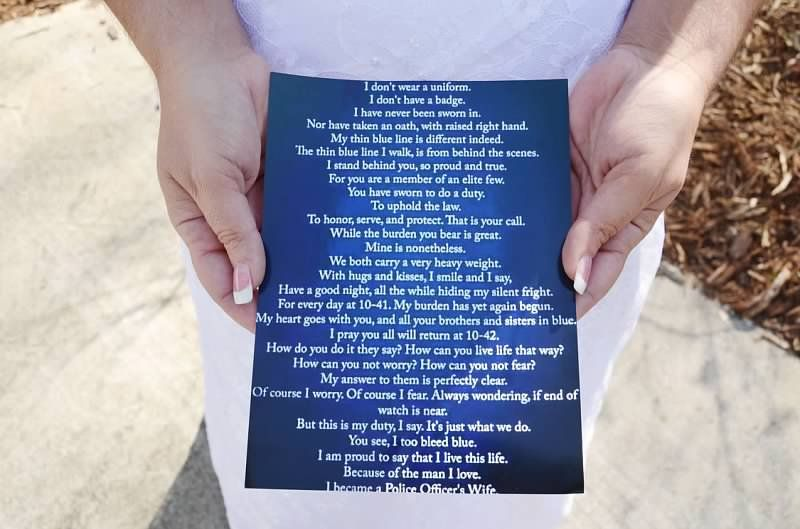 Poems To Read At Wedding: A.S.W. Weddings: Bride Of A Police Officer's Poem To Read