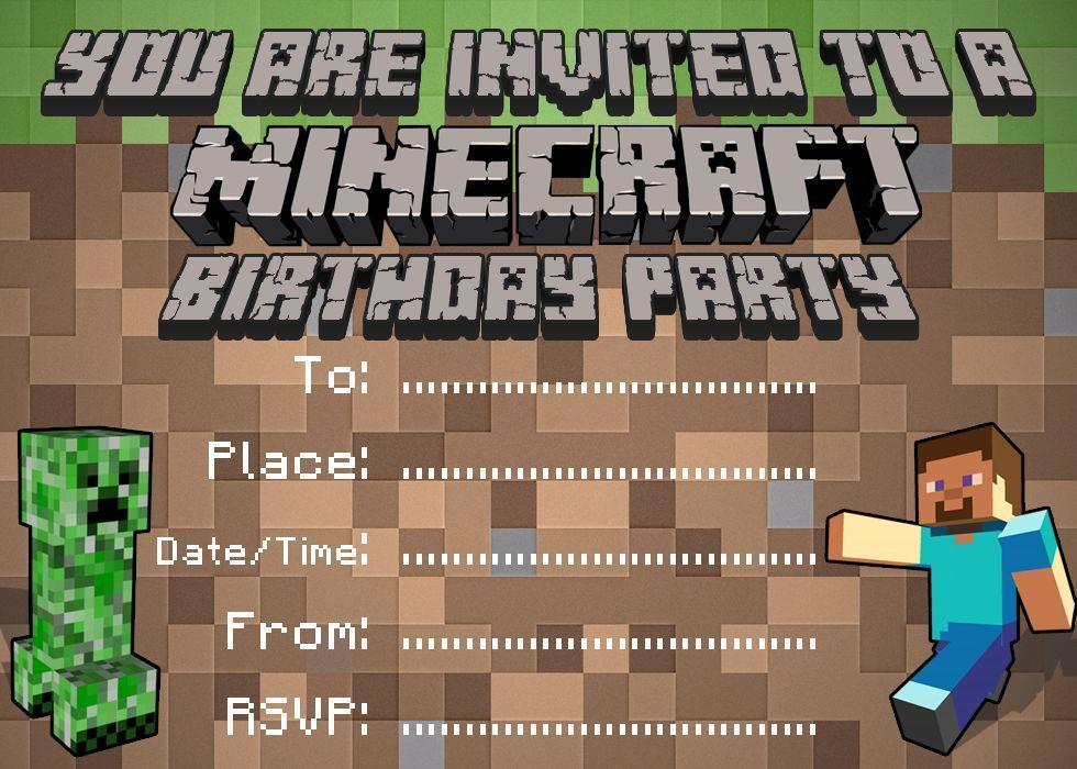 Minecraft Invitation Pinterest - Party invitation template: minecraft birthday party invitations templates