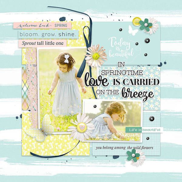 Digital scrapbook layout idea using Project Grateful Sprout collection.