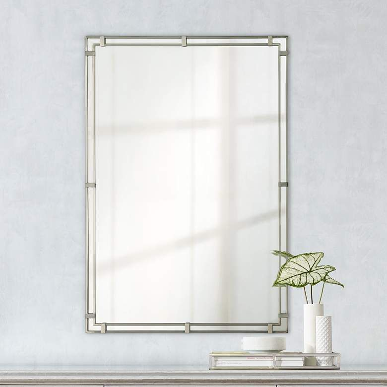 Feiss Parker Place Brushed Steel 22 X, Brushed Steel Bathroom Mirror