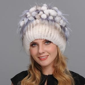 3602086afdd0b Winter Fur Hat for Women Real Rex Rabbit Fur Hats with Silver Fox Fur  Flower Knitted