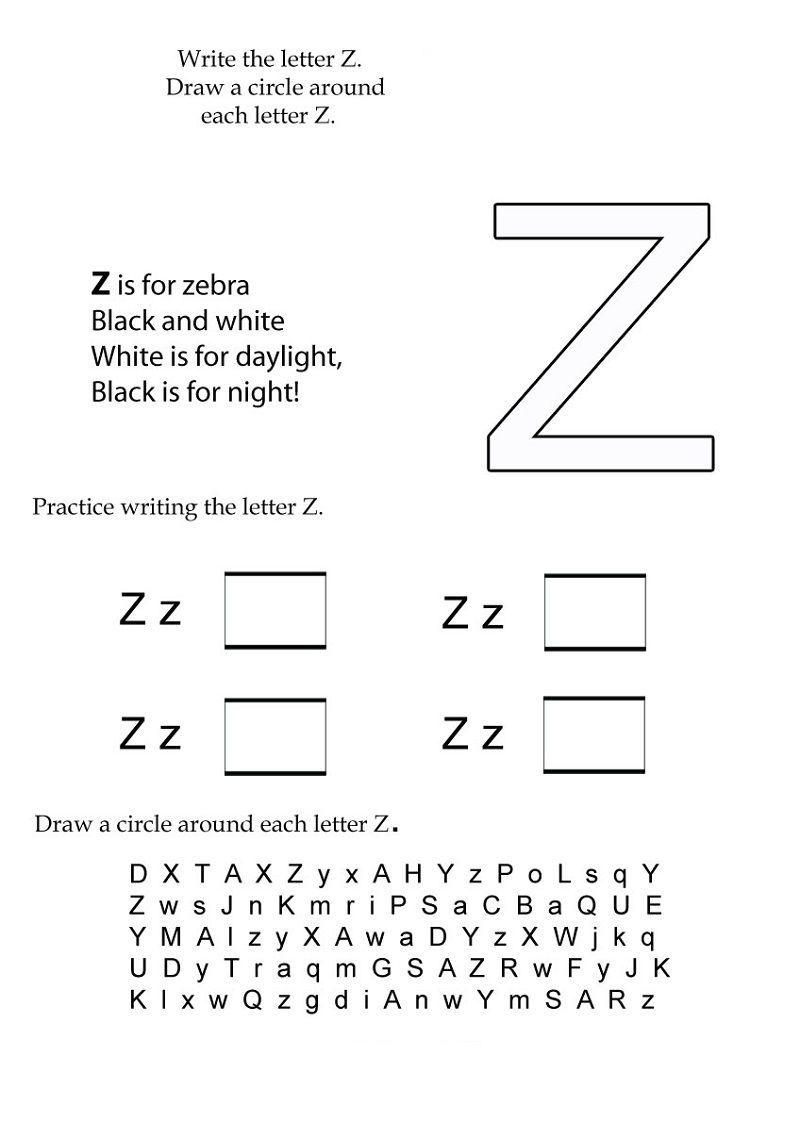 Letter Z Kindergarten Worksheets Page 001