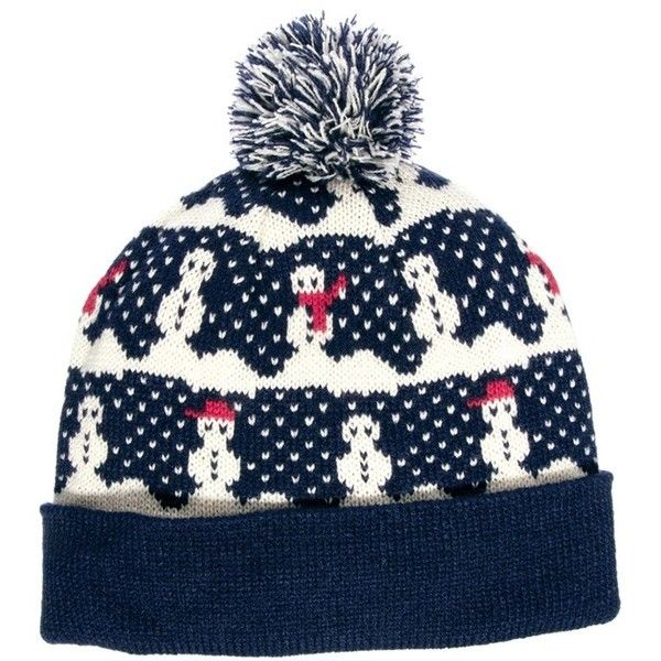 4151ea02a9a ASOS Bobble Beanie Hat with Snowman Design ( 16) found on Polyvore ...