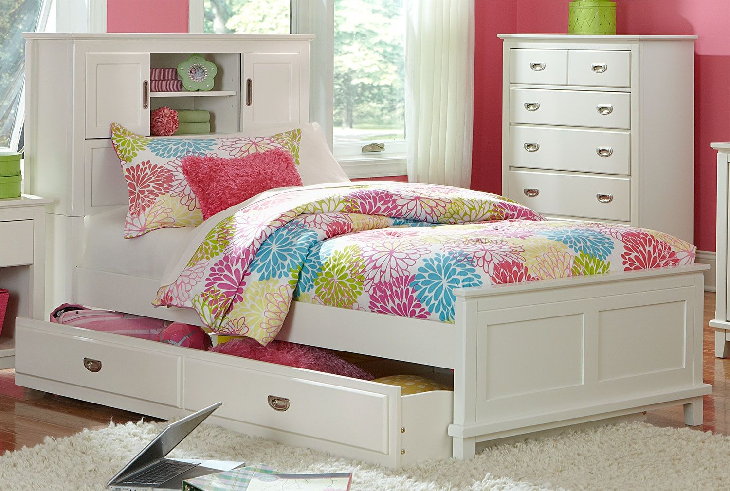 Chadwick Full Bookcase Bed White Bed Frame Design Bed With Drawers Twin Bed Frame