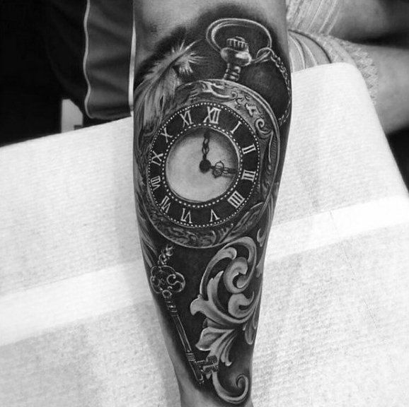 Grey Key Feather Pocket Watch Tattoo On Forearms Guys