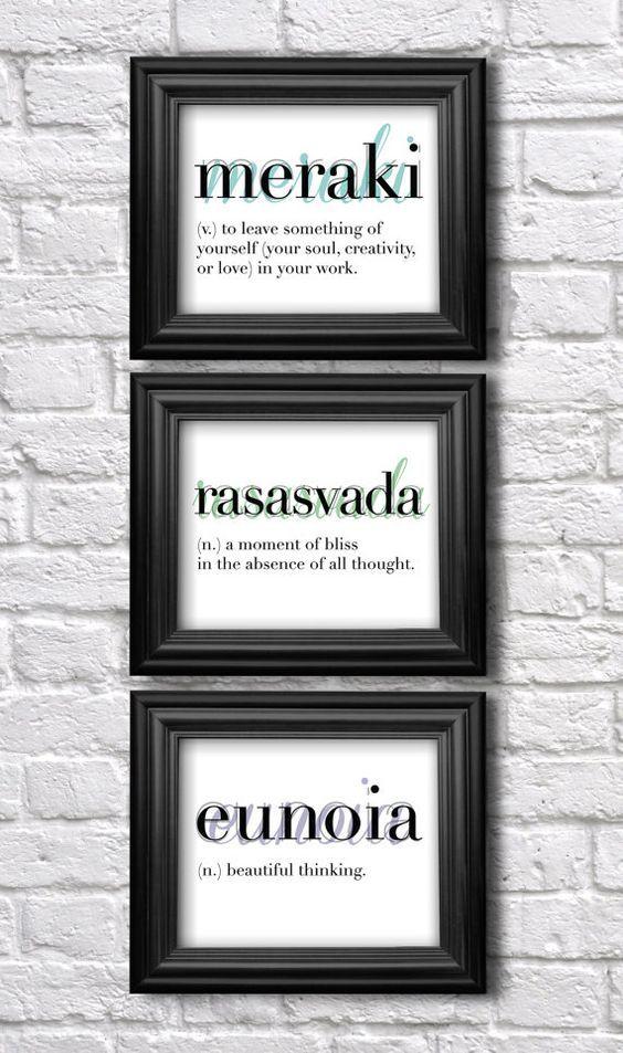 Set of 3 Prints // Wall Art Set / Words and Definitions / Dictionary Art  / Modern Type / Eunoia / Meraki / Rasasvada/ Inspirational Art on Etsy, $35.00: