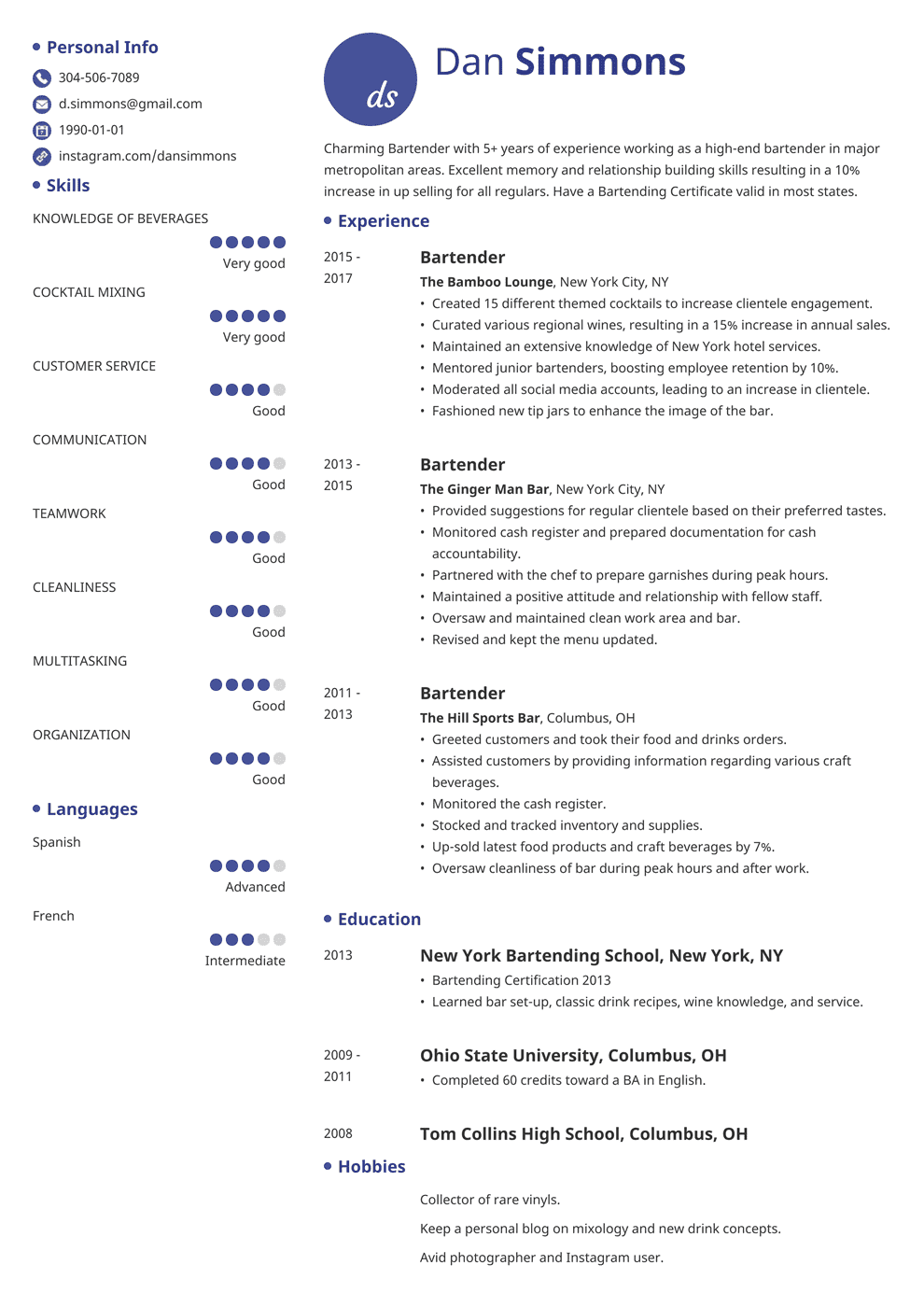 bartender resume template initials in 2020 Resume