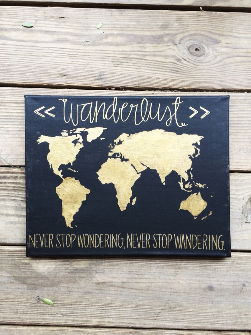 Wanderlust gold and black world map quote
