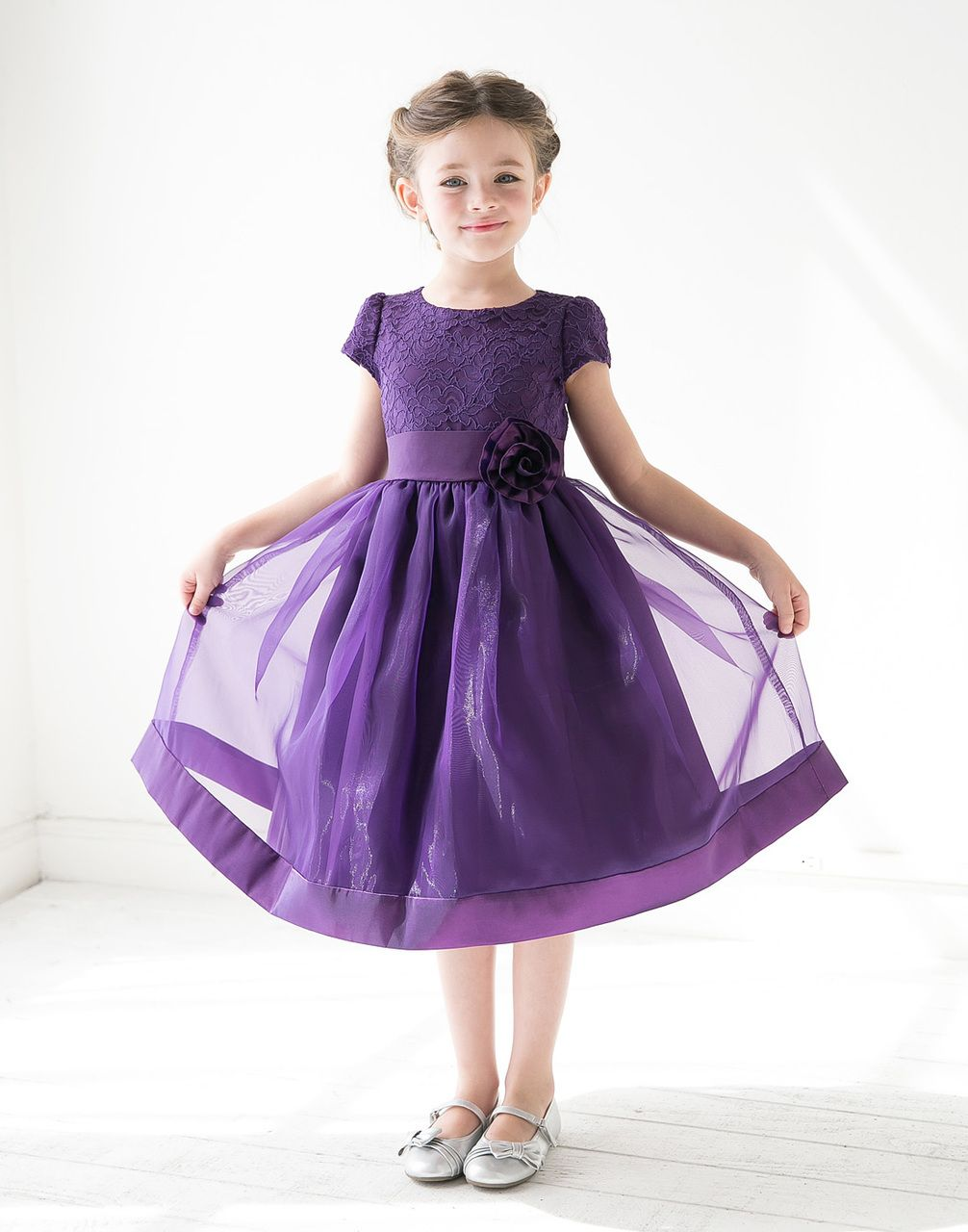Attractive Lace and Mirror Organza Dress with a Satin Blossom ...