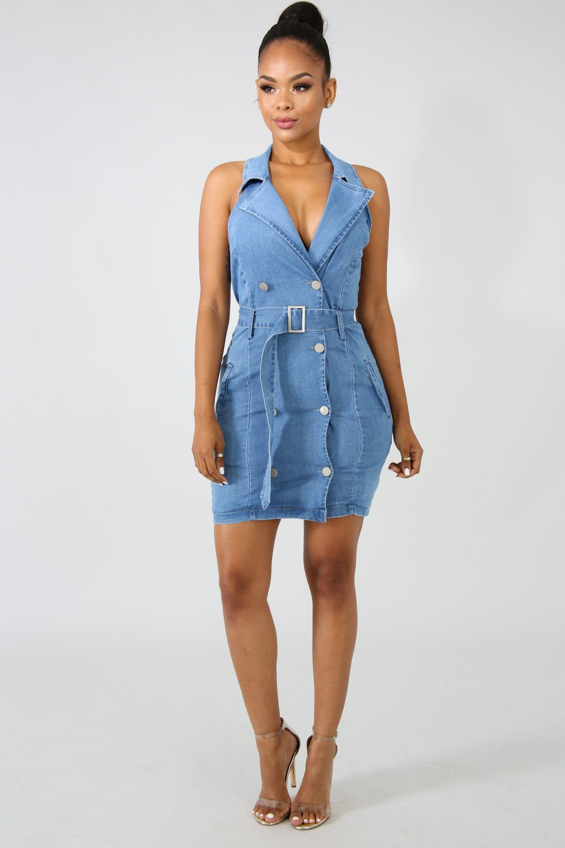7a6a5b31aa5 Denim Tux button Dress