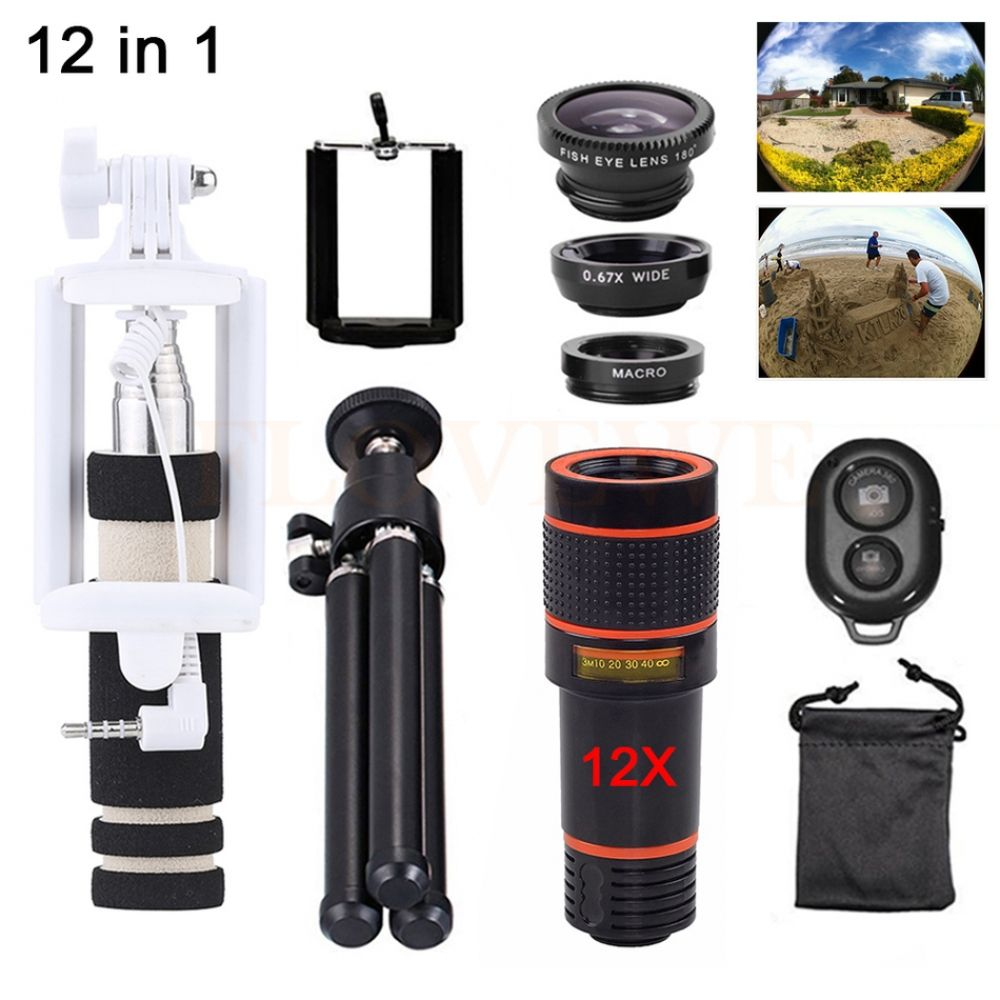 12in1 Phone Lenses Kit 12X Telephoto Zoom Lens Microscope Telescope+Tripod+Fisheye Wide Angle Macro Lentes For Smartphone Tripod #wideangle